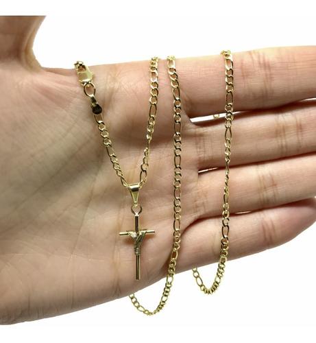 cordão + pulseira +  pingente cruz masculino banhada a ouro 18k c/ 60cm 2mm