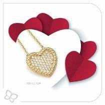 cordão rommanel feminino coração dia namorados love 531484