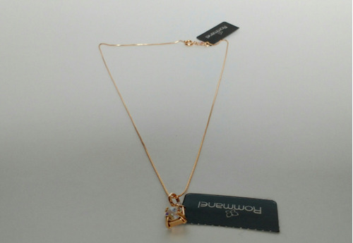 cordão rommanel fina veneziana 42cm + pingente folheado ouro