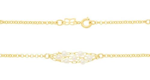 cordão rommanel folheado ouro fios triplo pérolas delicado