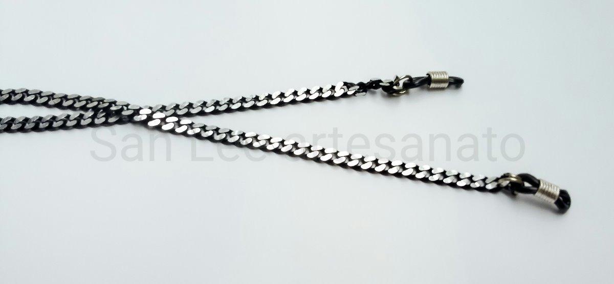 660822996fa8d cordão segura óculos salva óculos corrente preto e prata. Carregando zoom.