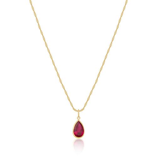 0553175cc1269 Cordão Singapura Ouro 18k 750 45cm E Pingente Vermelho Rubi - R  248 ...