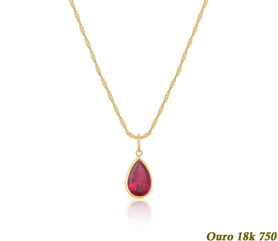 d7ded07aa2ae6 cordão singapura ouro 18k 750 45cm e pingente vermelho rubi. Carregando  zoom.
