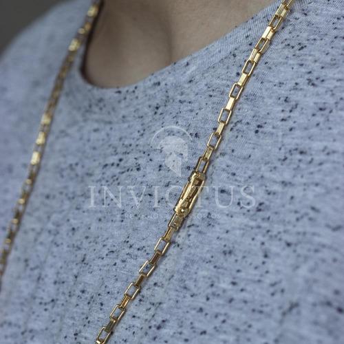 cordão tijolinho 4mm e 70cm + crucifixo banhados a ouro 18k