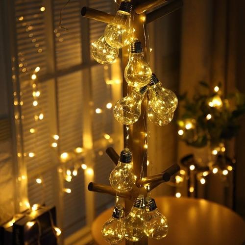 cordão varal 10 mini lâmpadas bulbo luz de fada usb e pilha