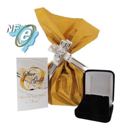cordão veneziana 50cm + pingente coração 6mm ouro 18k jóias