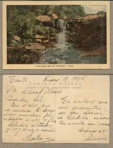 cordoba-tanti - cascada de la virgen - 1946  (#608)