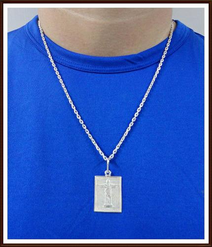 cordão,corrente 70cm, pingente cristo redentor em prata 950
