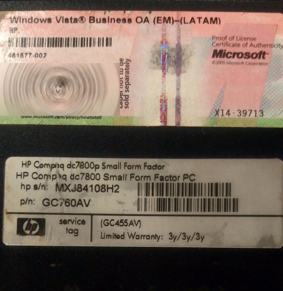 Core 2 Duo 2 83 Hp Dc7800 Hd 750 Gb Ram 2 Gb Win 10 Office - $ 1,850 00