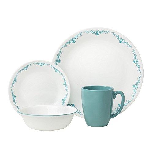 corelle 16 encaje livingware pieza jardín de vajilla, blanc