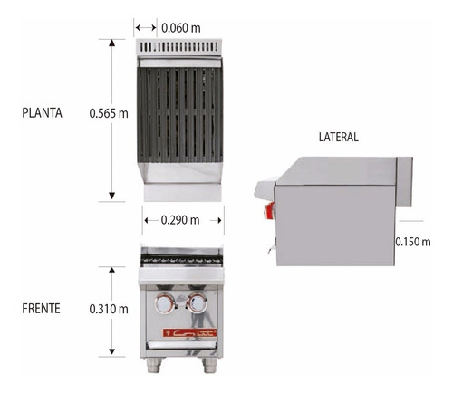 coriat ach-1 petit asador a gas 2 quemadores eco 601570