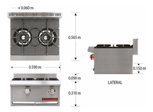 coriat pch-2 petit parrilla 2 quemadores inox.premium 606500
