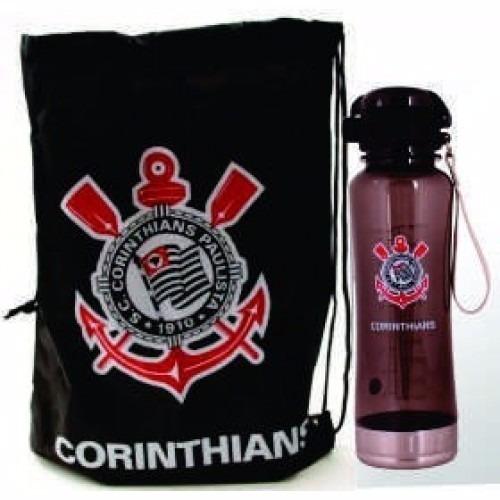 Corinthians Garrafa Squeeze 600ml Com Bolsa Oficial Presente - R  56 ... e9e24d9c69a52