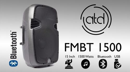 corneta amplificada 15 atd 1500 watts bluetooth usb mic dj