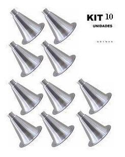 corneta de alumínio atacado kit 10 cones bico rosca m jarrão
