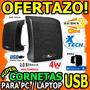 Wow Cornetas Para Pc Laptop Xtech Xts120 4w Rms 2.0 Usb