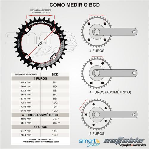 coroa 36 unica bcd 96 shimano alivio integrado m4000 m4050