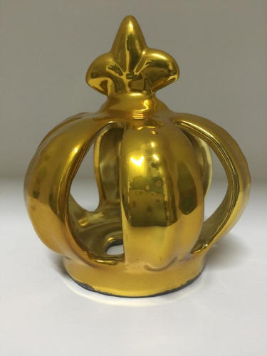coroa cerâmica dourada p