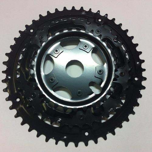 coroa engrenagem tripla 28/38/48 preta caixa 45mm index bike