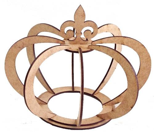 coroa media 3d mdf cru - enfeites  - decoração