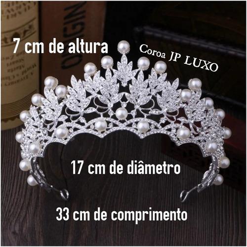 coroa perola prata noiva 15 anos miss strass prata brilhant