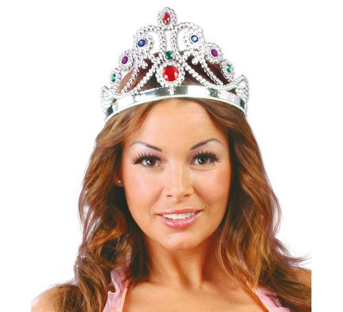 corona de princesa o reina tiara plastica plateada o dorada