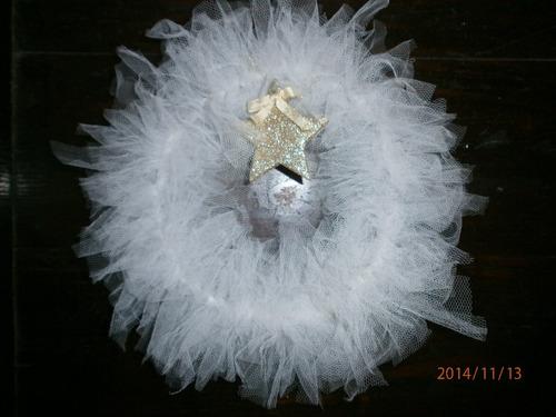 corona de tull, souvenir, decoracion, diseño, adorno navideñ