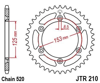 corona jt honda crf 230 03-16' 210 50 dientes top racing