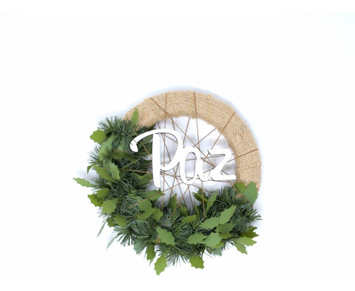 corona navidad 20 cm decorada (arpillera o mimbre) #637