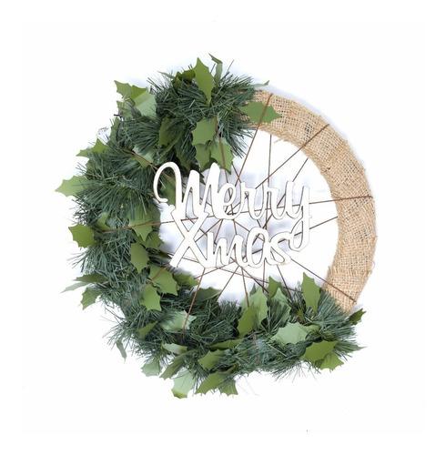 corona navidad 30 cm decorada (arpillera o mimbre) #676