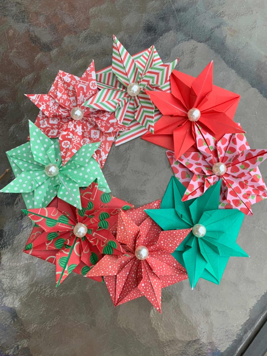 Corona Navidad Papel Origami