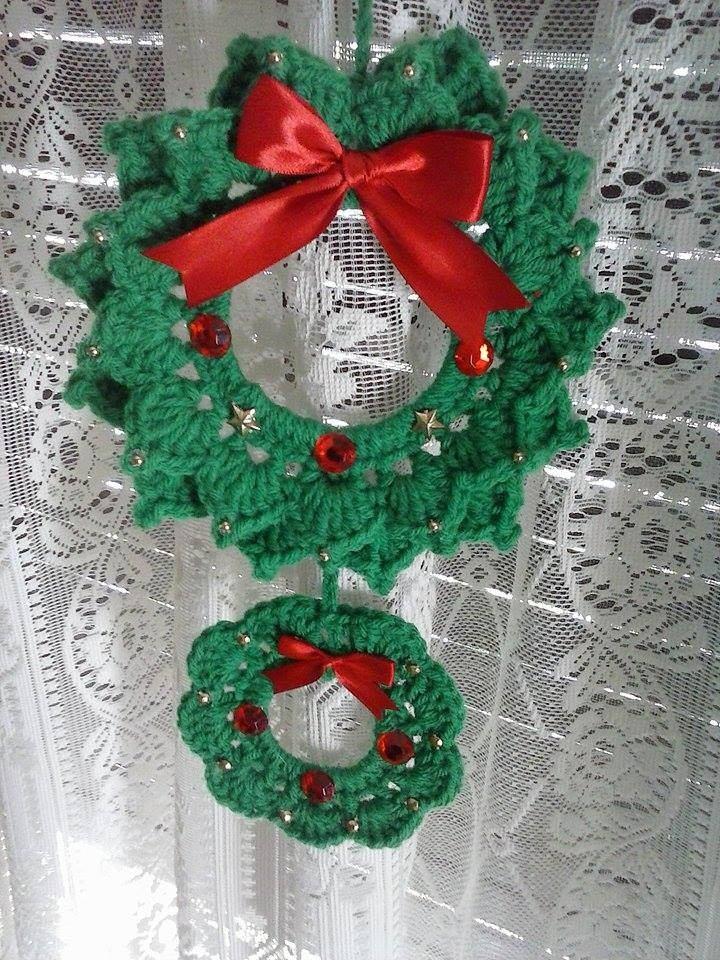 Corona Navidena Tejida Al Crochet 45000 En Mercado Libre - Corona-navidea