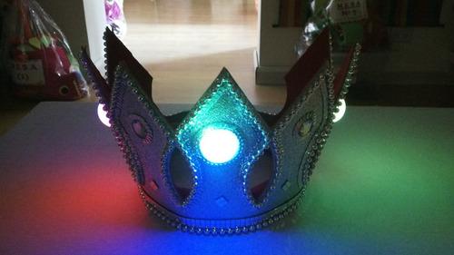 corona rey + vincha plumas comparsa - combo luminoso !!
