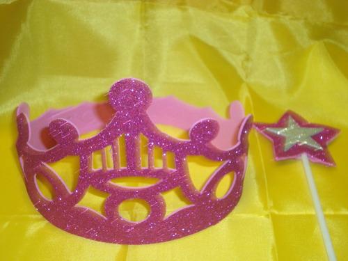 coronas en goma eva givreada/ideal princesas+varita