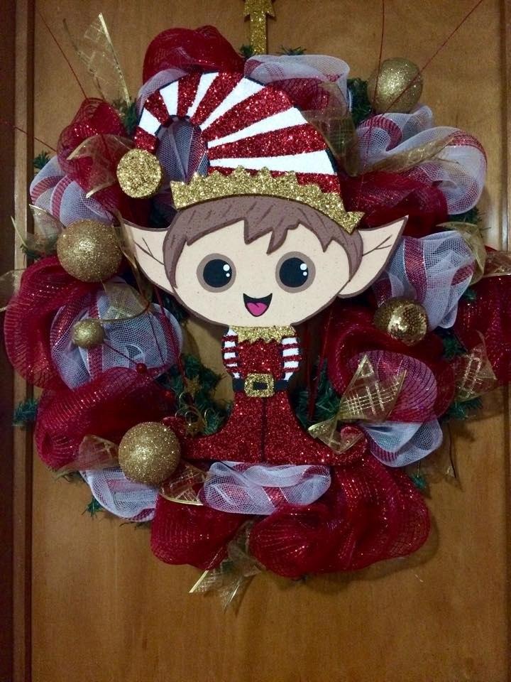 Coronas navidad duendes 1 en mercado libre for Arreglo para puertas de navidad