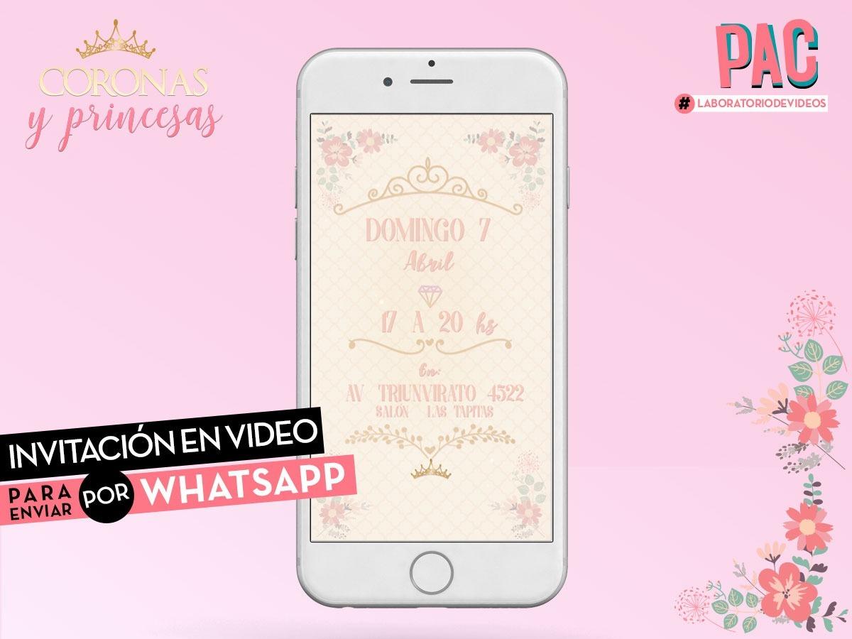 Coronas Y Princesas Invitación En Video Para Whatsapp Pac