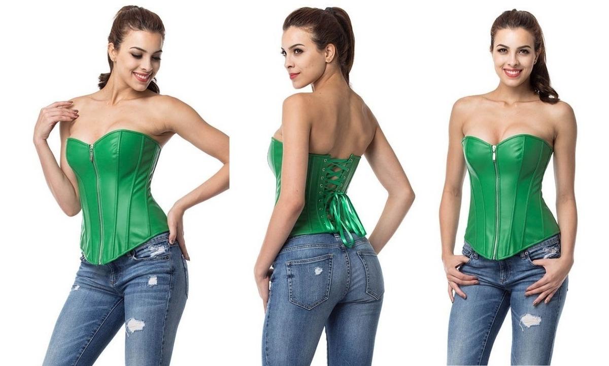 73d8943014a3e5 Corpete Corset Corselet Cinta Redutora Couro Brasil Verde
