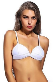 Bikini Blanco Triangulo Mujer Importado Top Corpiño Verano gYf76by