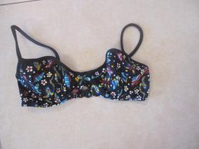24fe7eda7a41 Corpiño De Malla Bikini Negra Con Flores Talle Small Brasil
