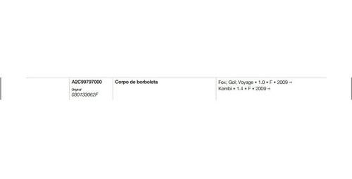 corpo de borboleta tbi gol fox 1.0 kombi 1.4 44smv5/a