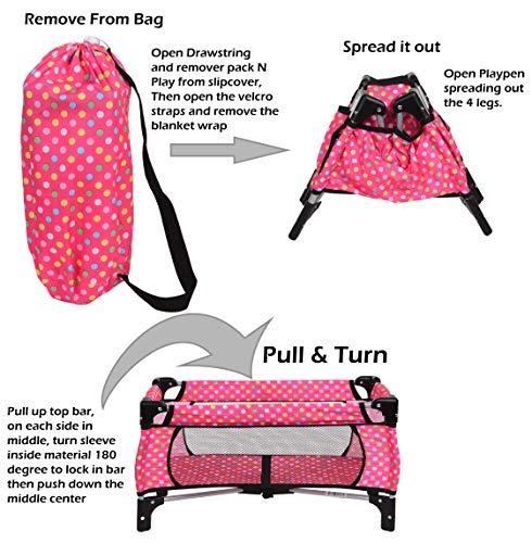 corral juguete play cuna se ajusta hasta 18 muñecas manta