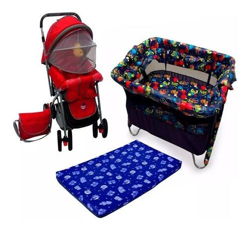 corral para bebe + coche para bebe + colchoneta para corral