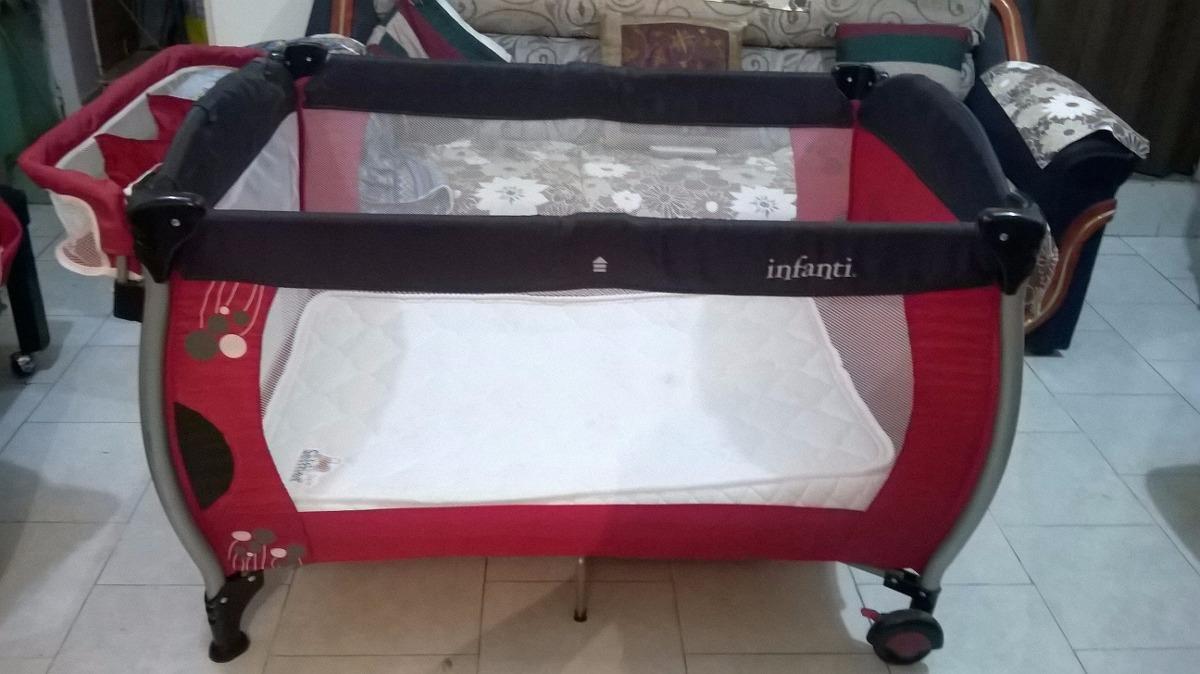 Corral Y Cuna Infanti Color Rojo/negro - $ 1,500.00 en Mercado Libre