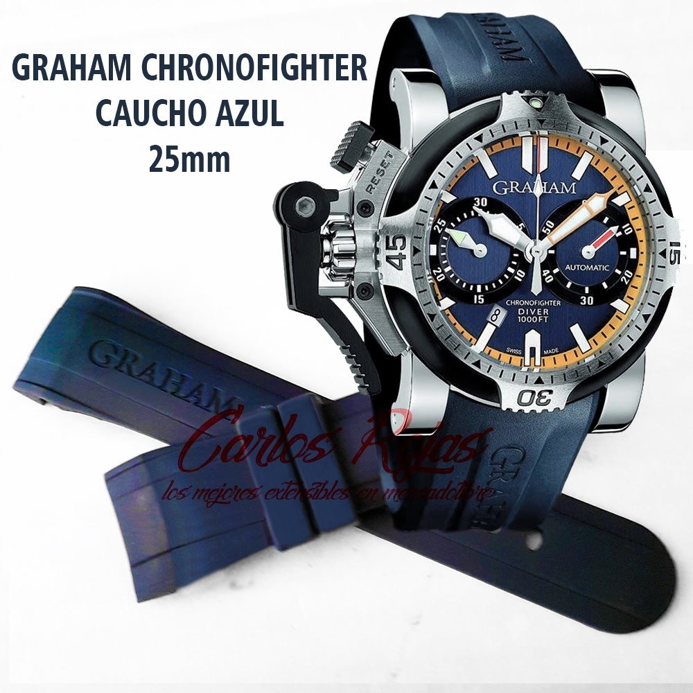 9ed4f955bb63 Correa Caucho Azul De 25mm Para Reloj Graham Chronofighter ...