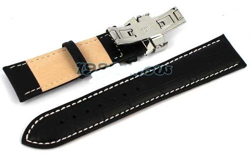 correa cuero lisa negra, costura y  deployment 22mm