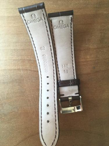 correa cuero omega 19mm con hebilla original para de ville