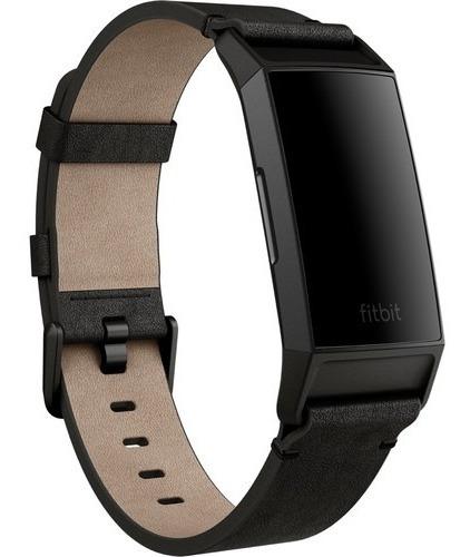 correa cuero reloj fitbit charge 4 y charge 3 negro talla s