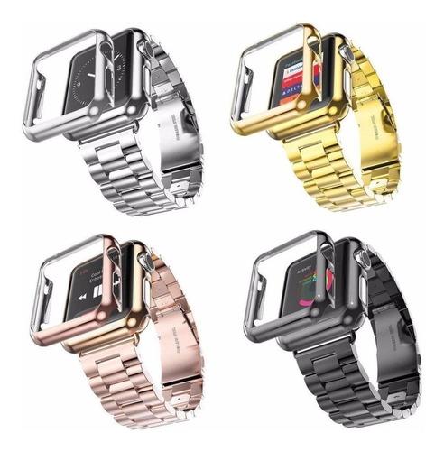 correa d eslabones para iwatch 42 38 40 44 mm +case de lujo