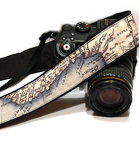 correa de cámara vintage map. accesorios de la cámara de fot
