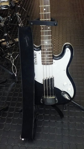 correa de cuero negra tijuana 510/8 guitarra bajo acolchada